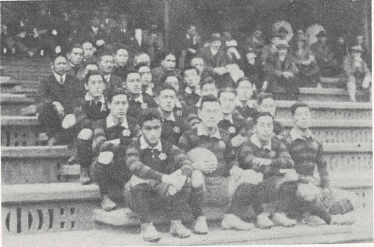 JAPANESE RUGBY PLAYERS IMPRESSIVE DURING FIRST TOUR OVERSEAS DURING 1925-26 NEW YEAR HOLIDAY